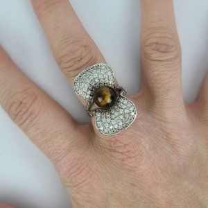 925 Sterling Silver Natural Stone Ring Size 7.5